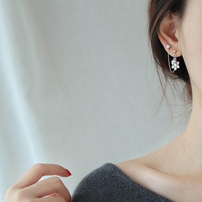 雪花双耳洞s925银耳钉 两个耳洞连体耳钉 个性雪花镶钻纯银耳环女