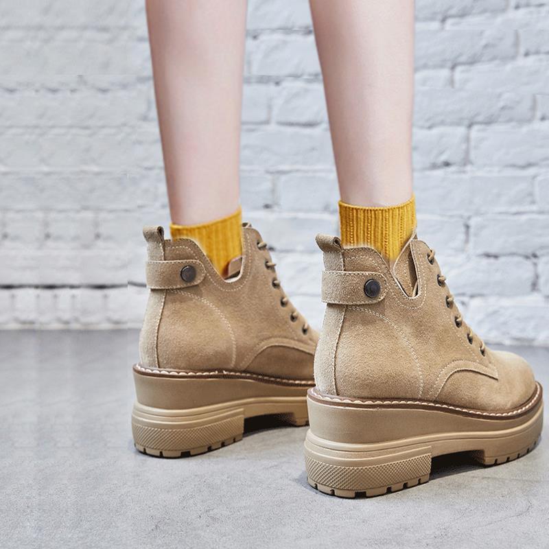 秋季靴子马丁靴女增高7cm厚底内增高短靴春秋2019新款小个子女鞋