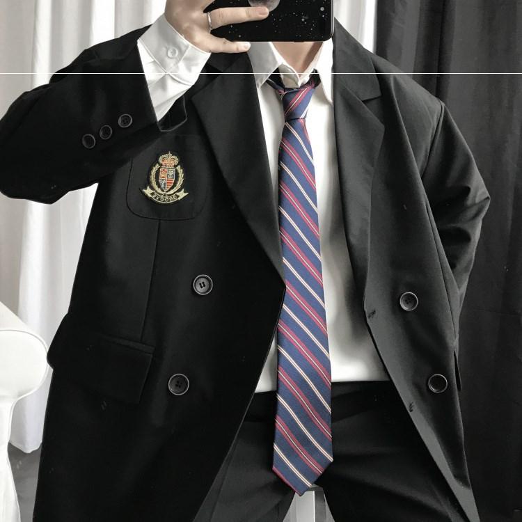 上野自制/ 春九分袖小西装男女学生DK徽章制服西服外套薄款上衣