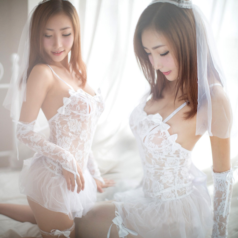 情趣内衣新娘装制服白色蕾丝清纯甜美婚纱性感透明血滴子公主套装