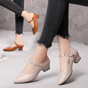 Shoes women 2019 tide shoes single shoes summer leather thick heel small size women's shoes 313233 medium heel large size shoes 41-43