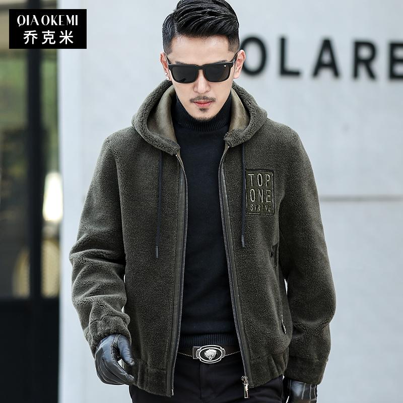 2019冬季海宁皮草大衣羊羔毛皮毛一体男士羊剪绒短款外套连帽上衣