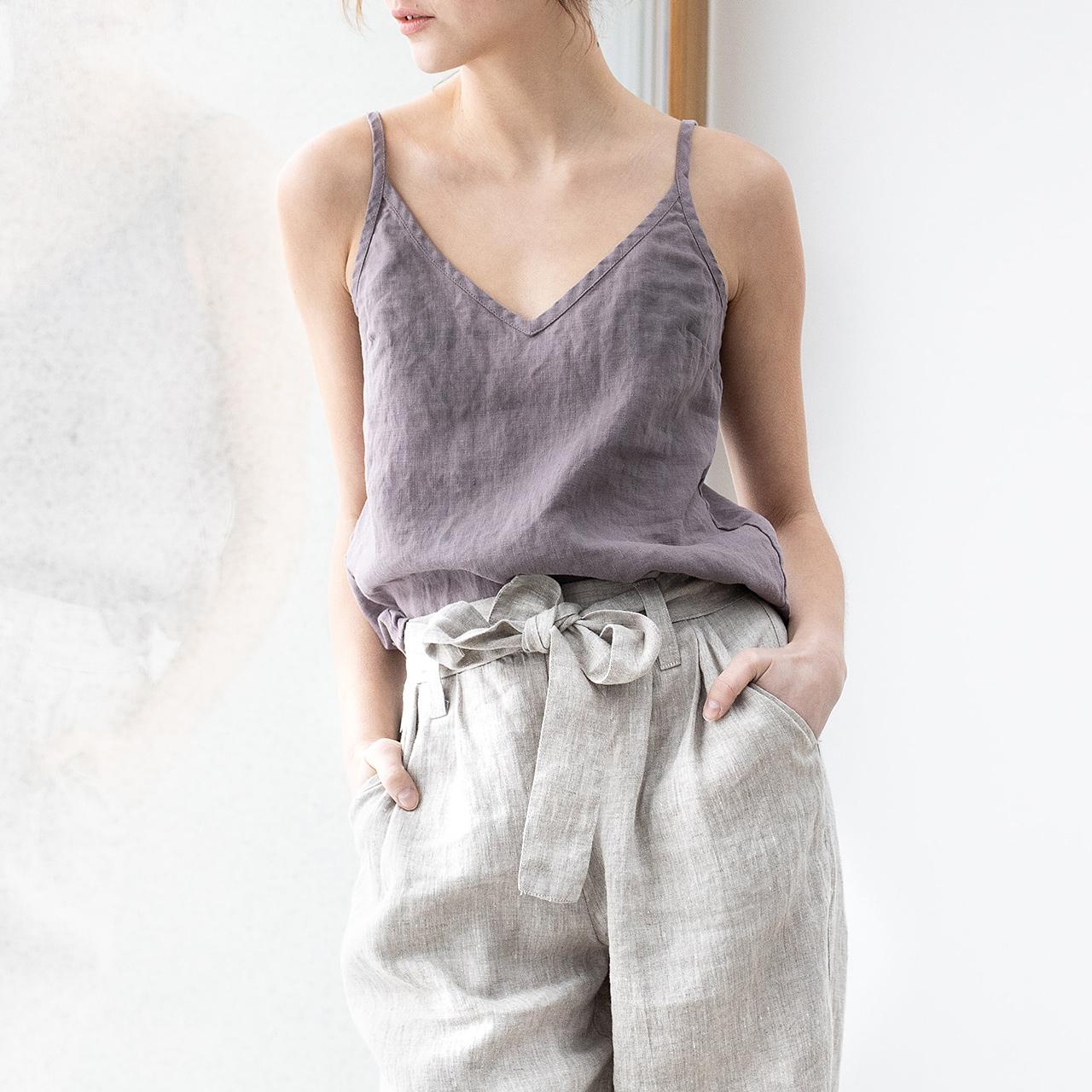 棉麻吊带背心女夏外穿宽松苎麻紫色内搭v领无袖亚麻纯色打底上衣