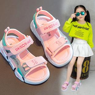 儿童凉鞋女2020年夏季新款小女孩学生时尚ins运动凉鞋中大童软底图片