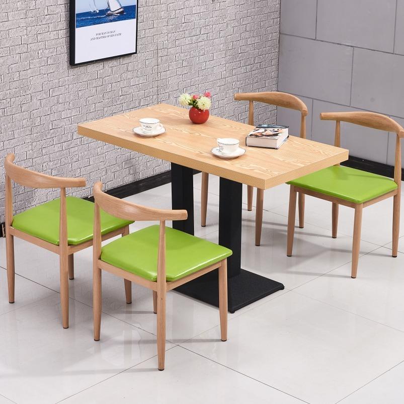 铁艺牛角椅仿实木简约食堂主题西餐厅奶茶小吃火锅店快餐桌椅组合