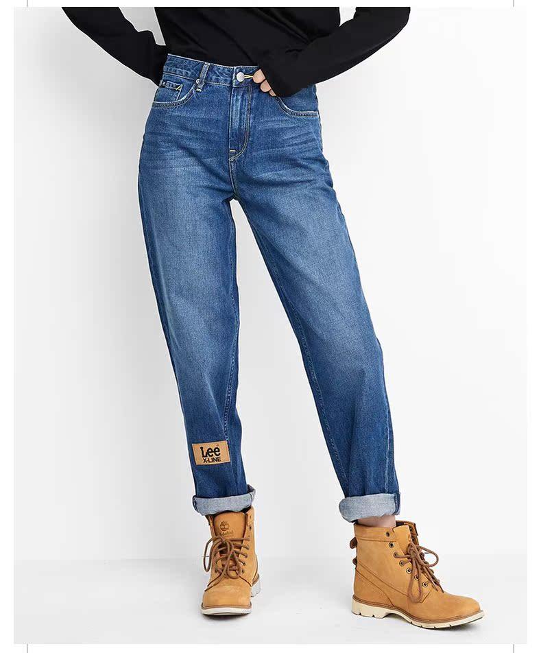 牛仔裤女装直筒宽松显瘦新潮活力复古秋冬款LWZ4113HH8SB