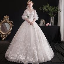 轻主婚纱礼服2021th7款新娘结ng系显瘦(小)个子齐地婚纱夏季女