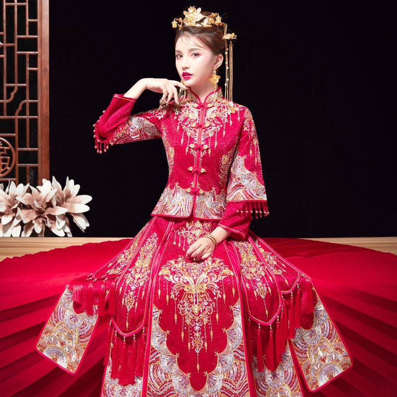秀禾服2020新款结婚中式敬酒服新娘婚纱古装嫁衣绣和服出阁服秀禾