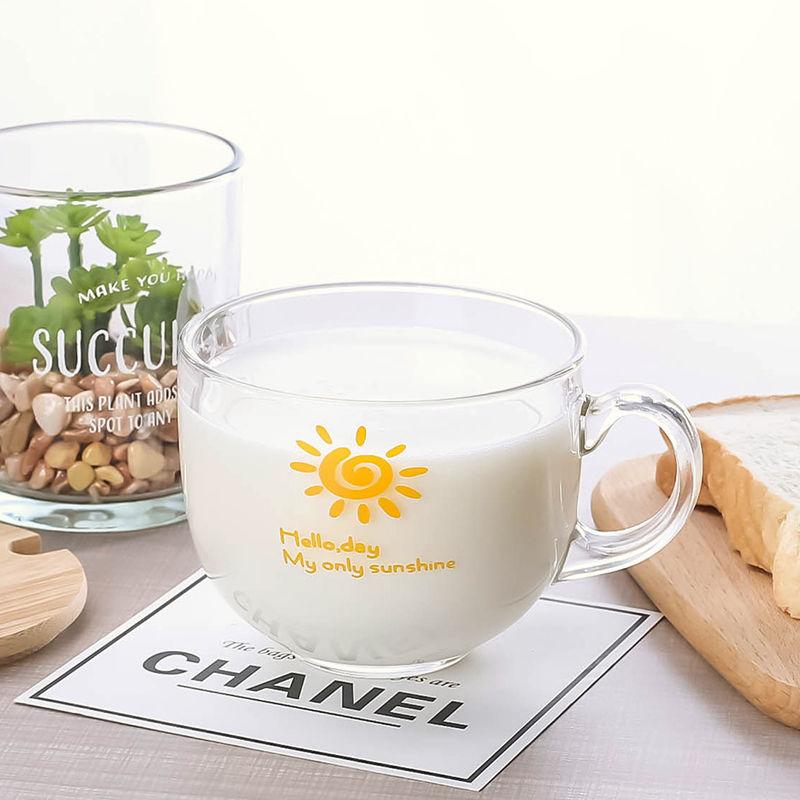 大号加厚玻璃燕麦牛奶早餐杯子女ins奶茶杯酸奶杯咖啡杯耐热水杯