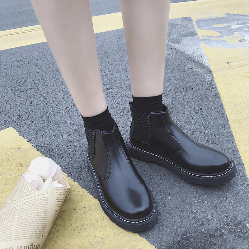 新款秋冬切尔西短靴女平底加绒厚底马丁靴英伦风女鞋及踝靴女靴子