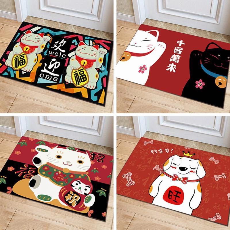 卡通可爱招财猫进门入户地垫门垫浴室防滑玄关吸水地毯地垫可定制