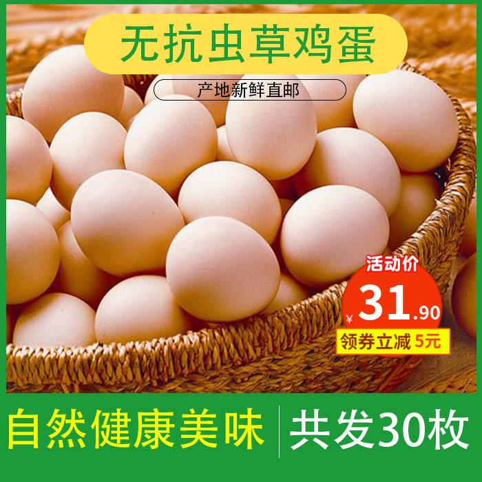 30枚无抗虫草鸡蛋天然鸡蛋无公害鸡蛋新鲜鸡蛋散养鸡蛋营养品
