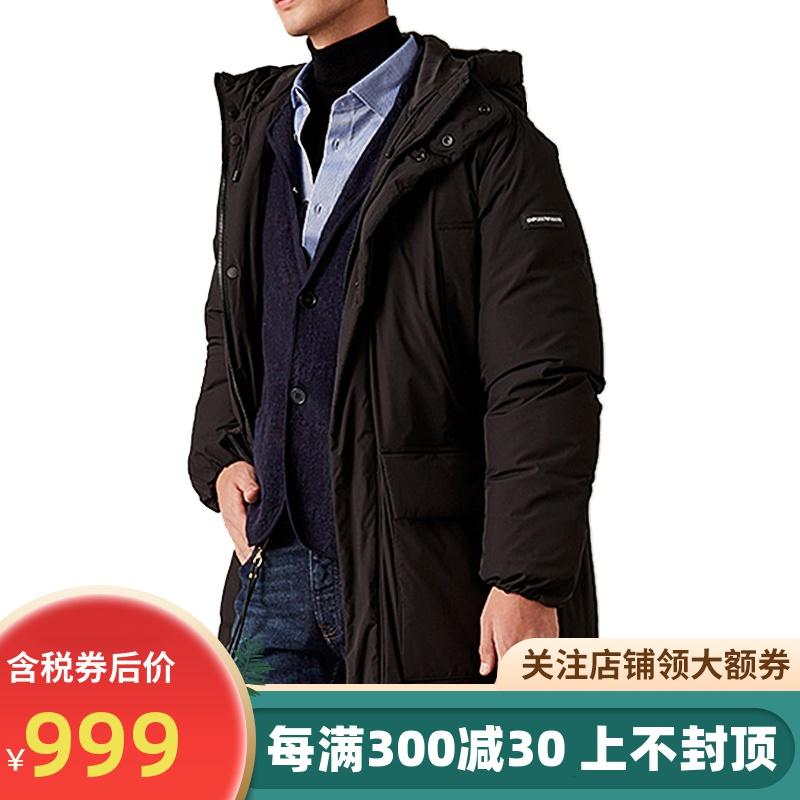 Armani阿玛尼中长款羽绒服2019冬新款鸭绒保暖连帽男士外套正品