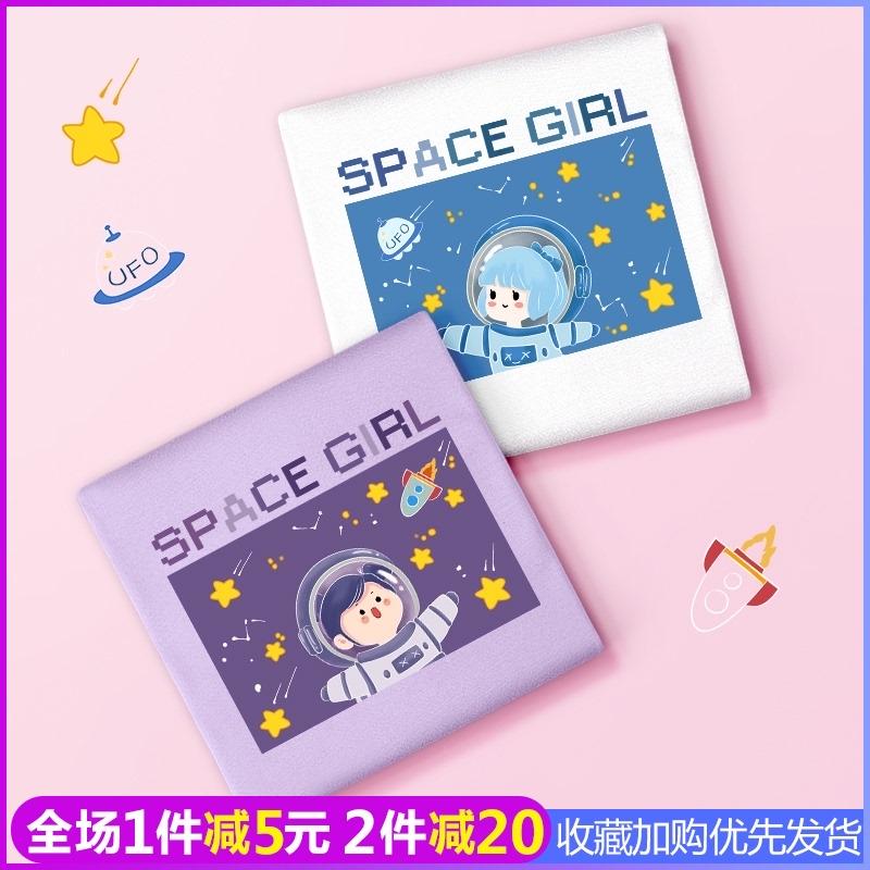 浅紫色t恤女宇航员香芋紫欧美宽松纯棉bf闺蜜装夏装三人可盐可甜