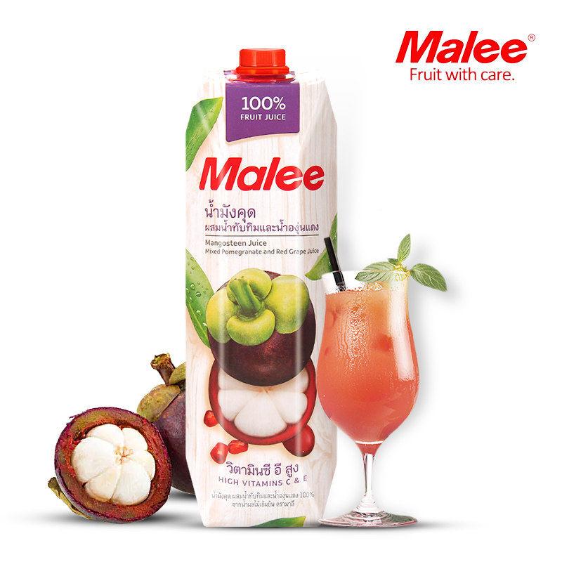 泰国进口玛丽Malee山竹复合果汁1L瓶装 樱桃葡萄水果纯果蔬汁饮料
