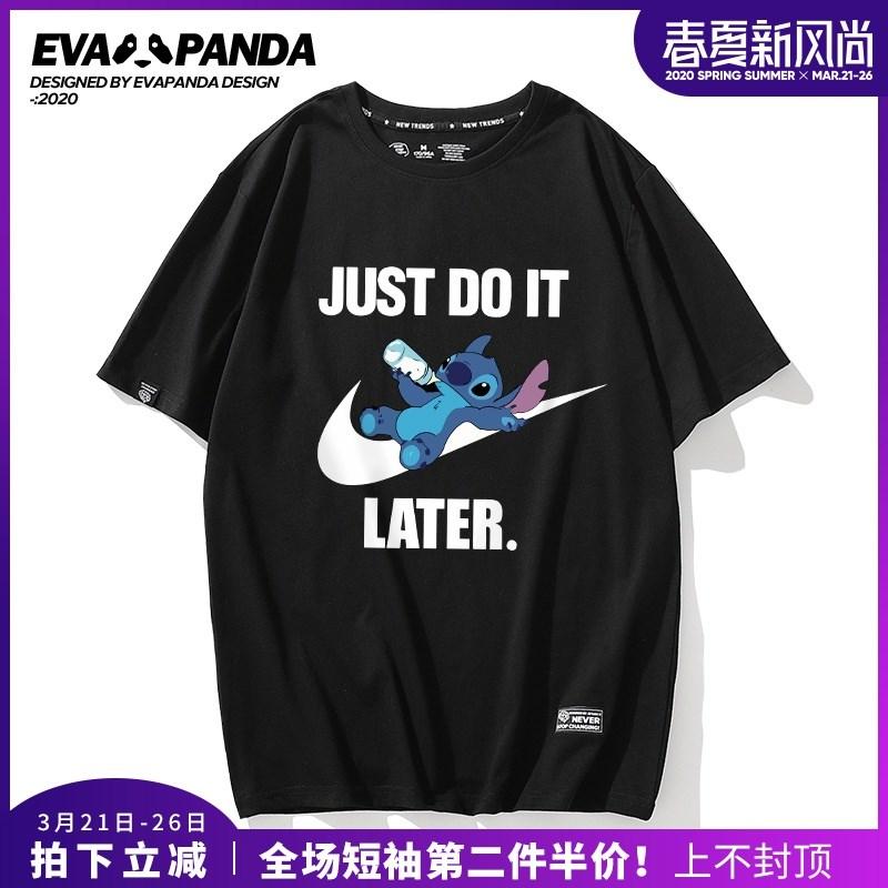 史迪仔奇联名T恤男2020春季新款纯棉宽松大码潮牌情侣装短袖女