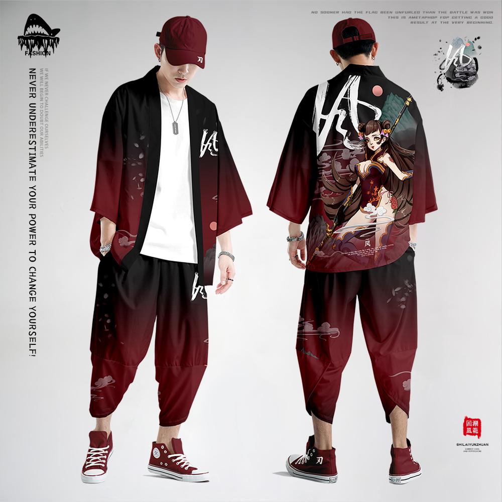 道袍古风男装中国风七分袖开衫和服羽织秋季套装浮世绘汉服男衬衫