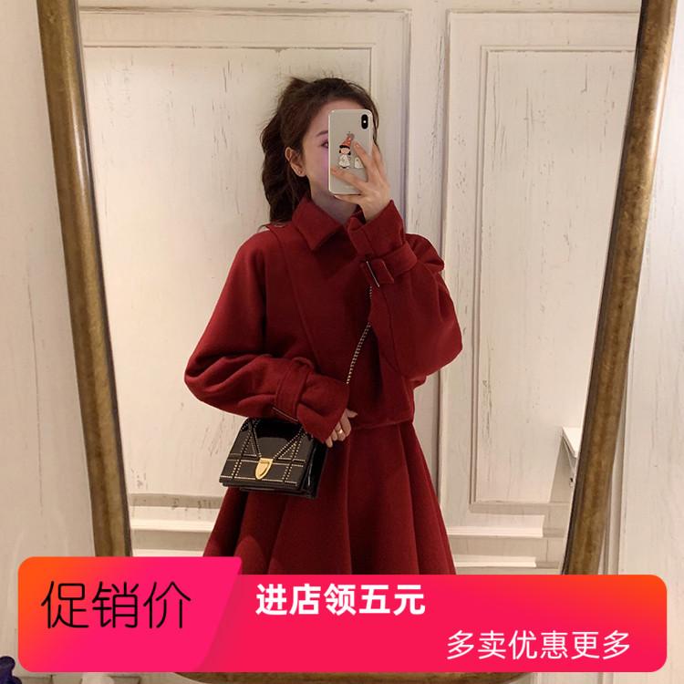 女装秋冬新款冬裙冬季套装裙子两件套韩版女加厚红色连衣裙女秋冬