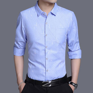 Spring and summer new middle-aged and young printed long-sleeved shirt men's men's business casual shirt