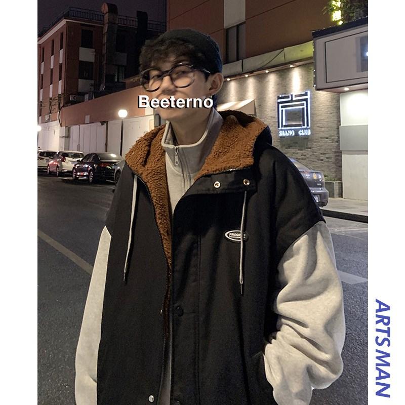 @港仔文艺男 冬季假两件工装棉衣男士韩版宽松加厚羊羔毛棉服外套