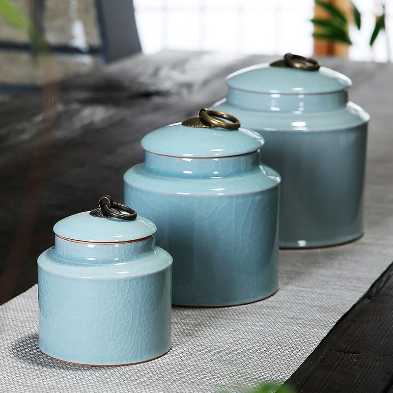 雅辞坊 哥窑茶叶罐大中小号陶瓷存储醒茶罐茶缸盒茶具家用密封罐