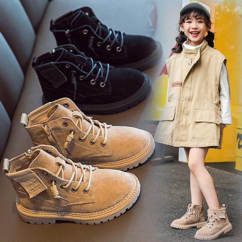 儿童马丁靴2019新款秋冬季单靴男童英伦风加绒短靴女童真皮靴子潮