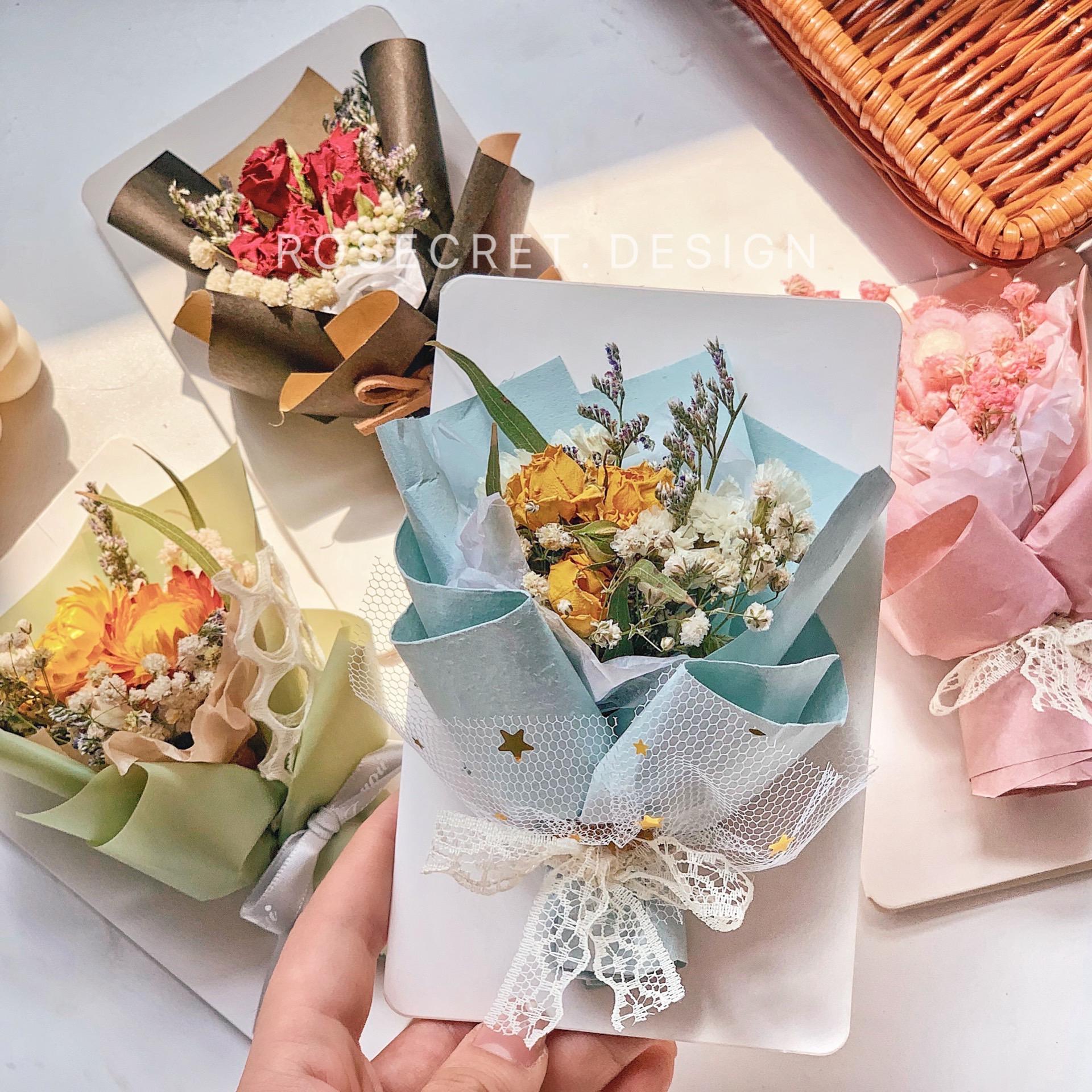 干花贺卡礼物迷你创意小花束永生花卡片送老师生日祝福毕业情人节