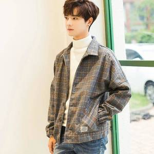 2019 new autumn and winter Korean version of the woolen plaid coat popular men's casual clothes jacket jacket Hong Kong style trend