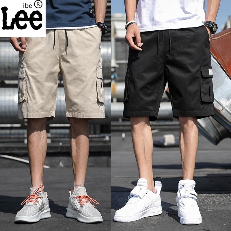 ibelee工装短裤男休闲工装裤短裤纯色五分裤沙滩裤迷彩中裤青少年