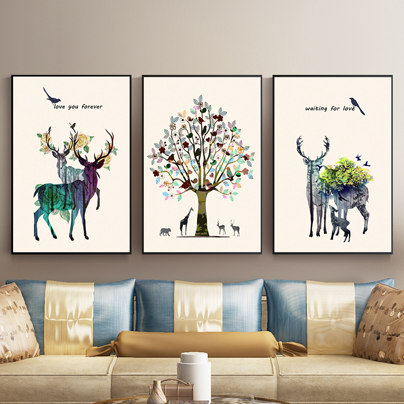 客厅装饰画北欧现代简约三联画餐厅壁画抽象鹿轻奢挂画沙发背景墙