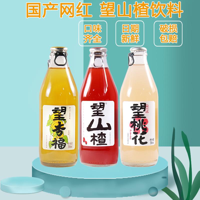 望山楂饮料网红玻璃瓶果味山楂汁大瓶开胃300ml*24整箱汽水微气泡