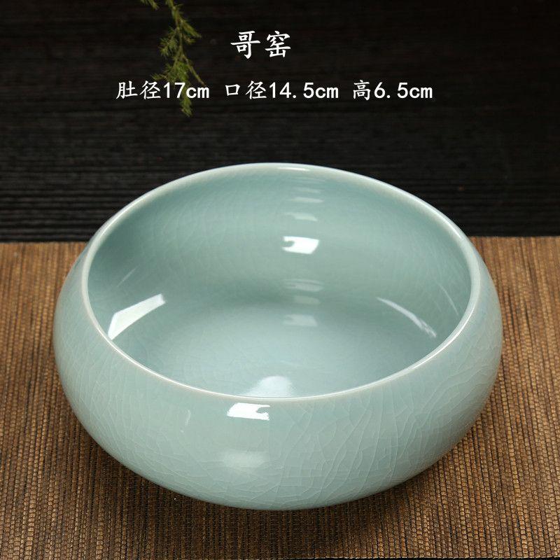 。哥窑创意大号茶洗陶瓷茶杯盆水盂笔洗零配件家用茶道功夫茶具水