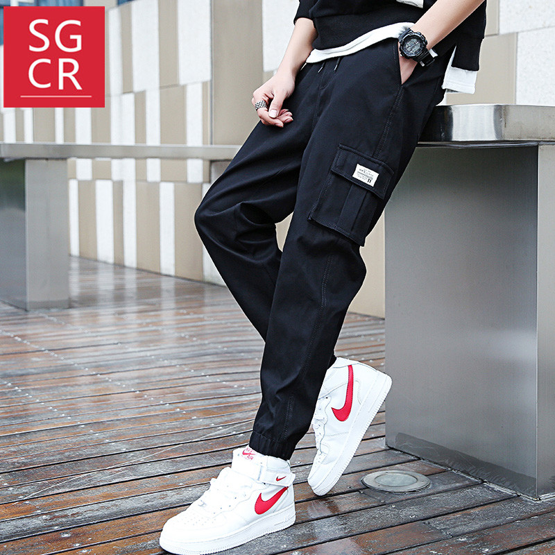 SGCRins超火的工装裤男潮牌宽松束脚直筒裤子港仔风大口袋休闲裤