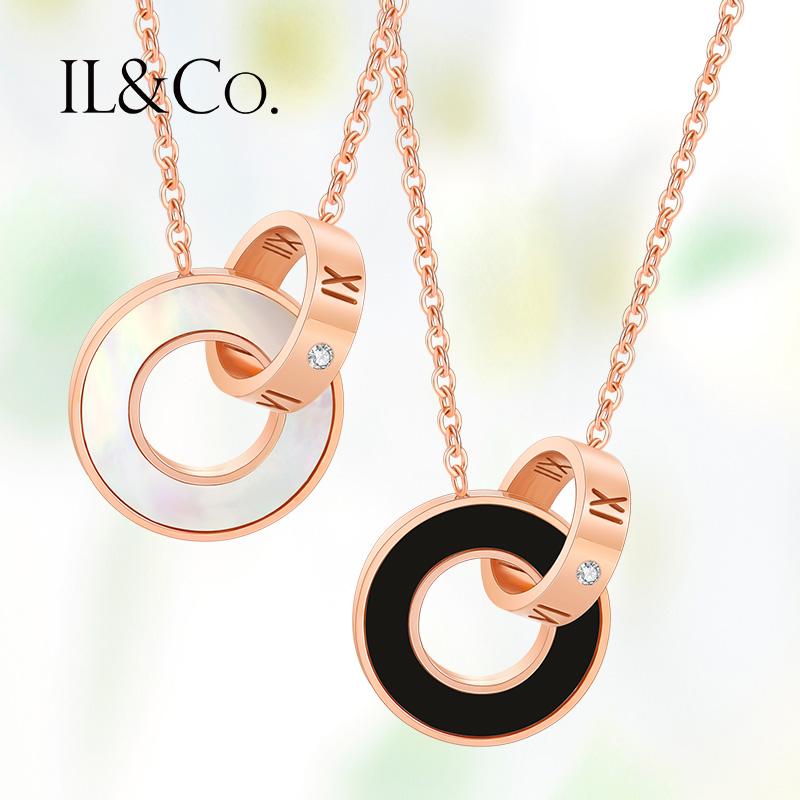ILCO珠宝玫瑰金色钻石项链精钢钻罗马项链女锁骨链项真钻闺蜜礼物