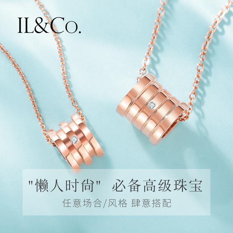 ILCO珠宝 经典小蛮腰钻石项链潮正品真钻石锁骨链时尚送女友礼物T
