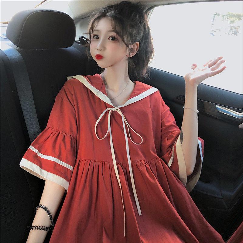 连衣裙女夏学生学院风韩版宽松海军领喇叭袖可爱甜美连衣裙小个图片