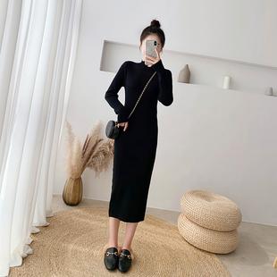 黑色毛衣裙女秋冬长袖打底针织连衣裙修身显瘦长款过膝内搭小黑裙图片