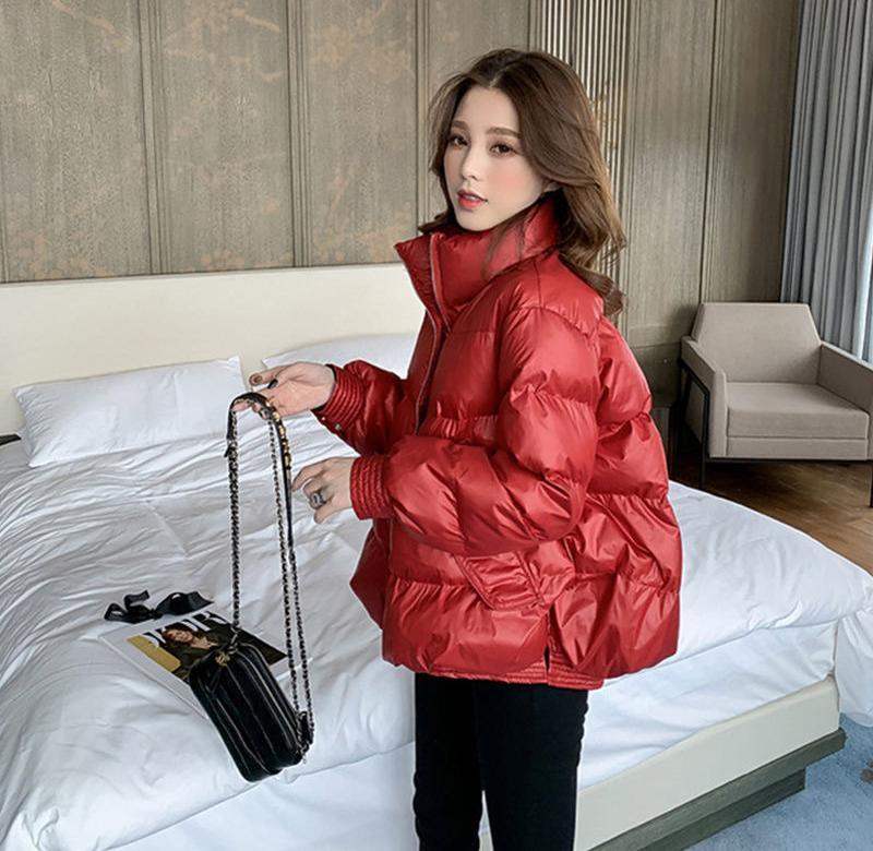 2019冬季新款立领亮面红色羽绒棉衣女短款保暖加厚面包服棉袄外套
