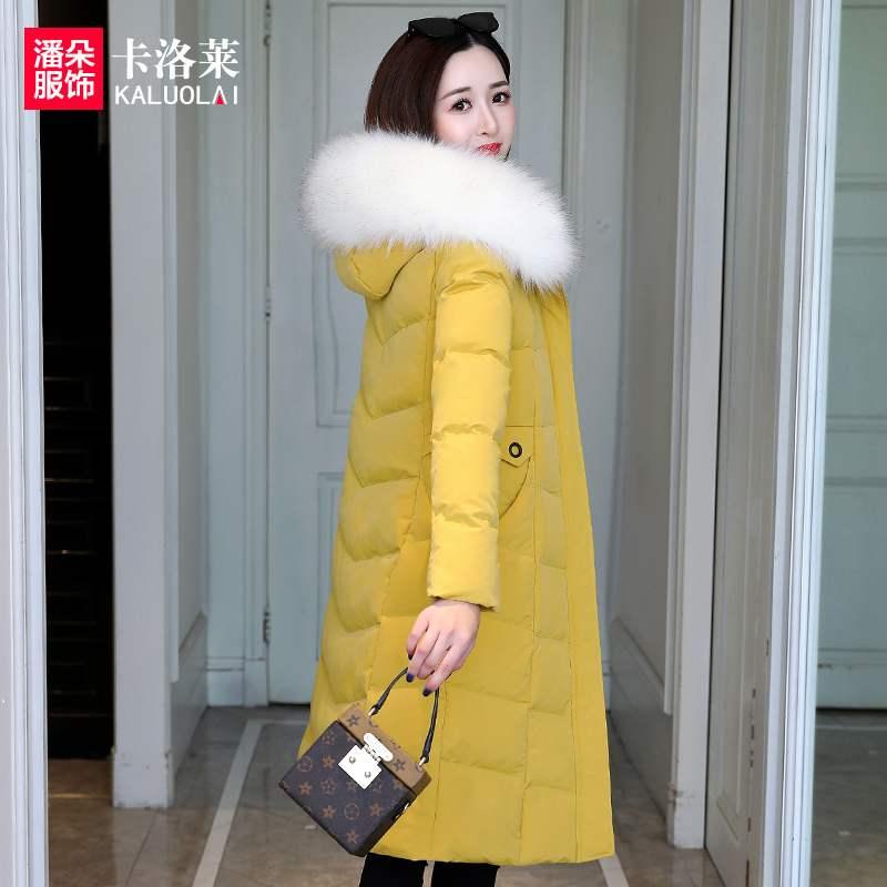 卡洛莱中长款棉衣女外套女2019新款冬季修身棉袄保暖羽绒棉服加厚