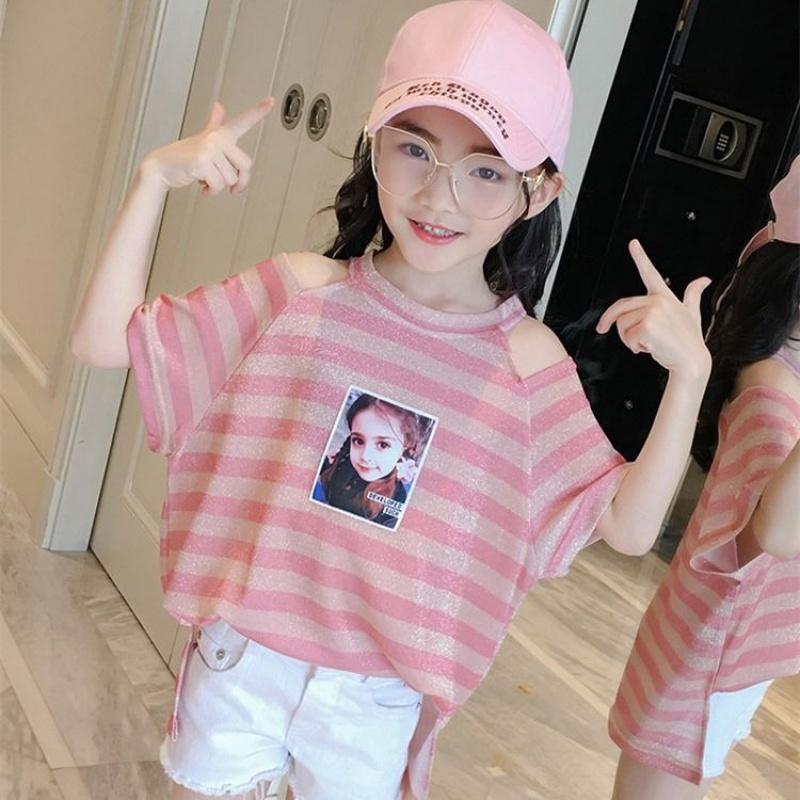 女童短袖T恤洋气韩版宽松14露肩12儿童夏装上衣夏新款13岁女该T恤