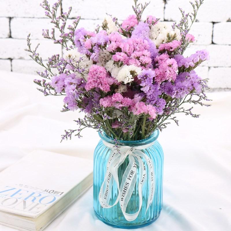 摆在房间的花花云南干花花束满天星勿忘我花瓶套装家居摆设