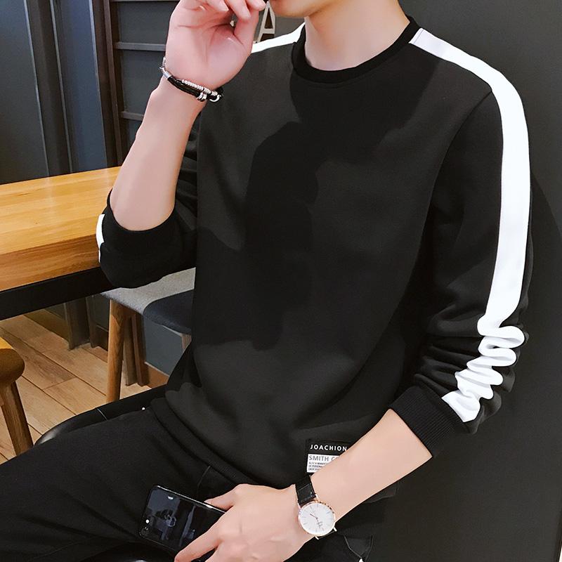 长袖T恤男士潮流宽松上衣服男装2020新款春秋季男生圆领套头卫衣