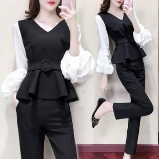 春夏季套装女韩版休闲时尚显瘦女装新款社会女士泡泡袖职业两件套