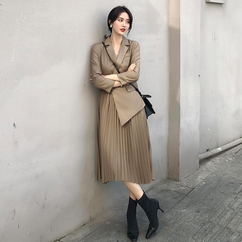 西装百褶连衣裙收腰长袖修身女人味新款裙子女2020流行时尚气质裙