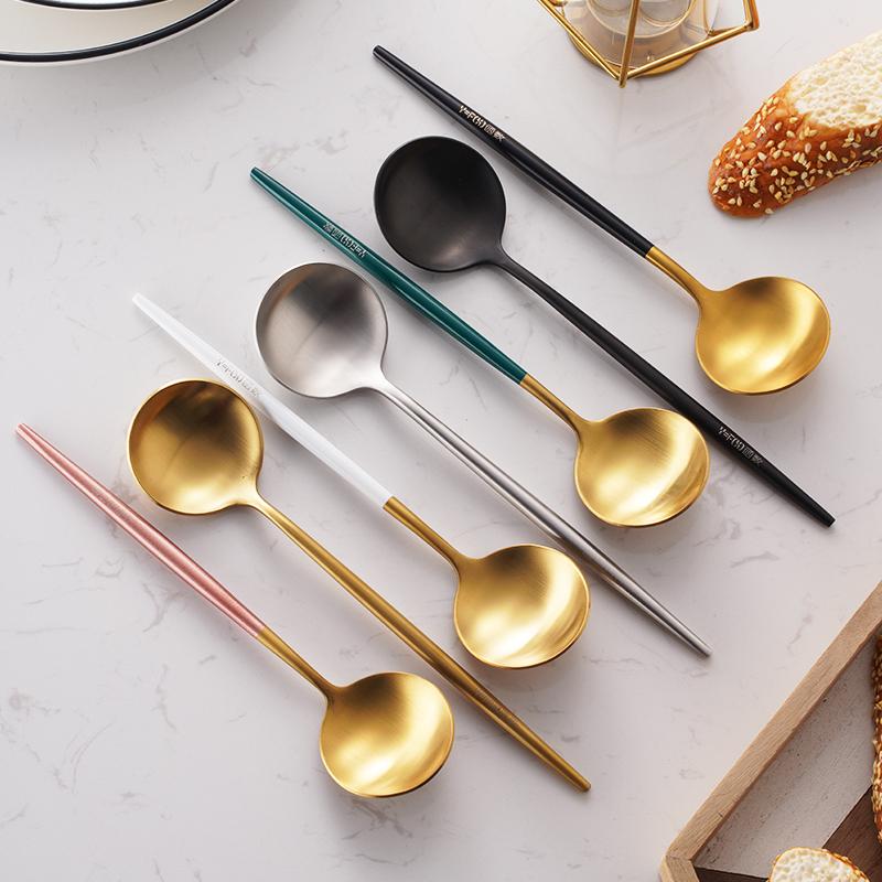 304不锈钢勺子网红汤勺家用圆头小主餐长柄金色喝汤铁甜品分餐勺