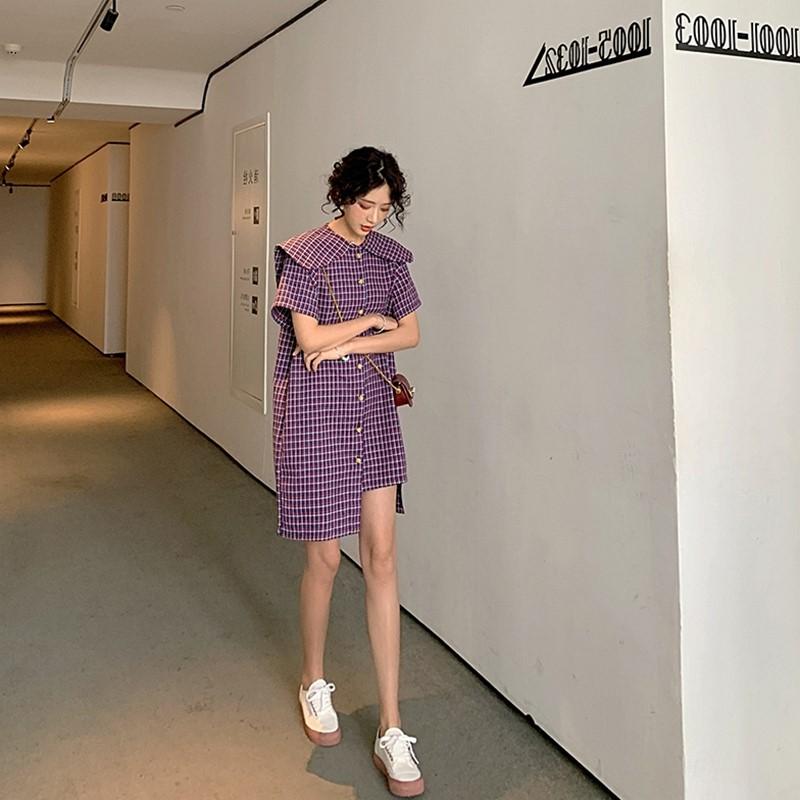 点击查看商品:法式复古紫色格子连衣裙女夏气质小香风娃娃领智熏桔梗衬衫裙子夏
