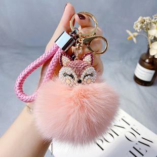 创意镶钻媚眼狐狸钥匙扣女士汽车毛绒球礼品钥匙链时尚背包挂件潮图片