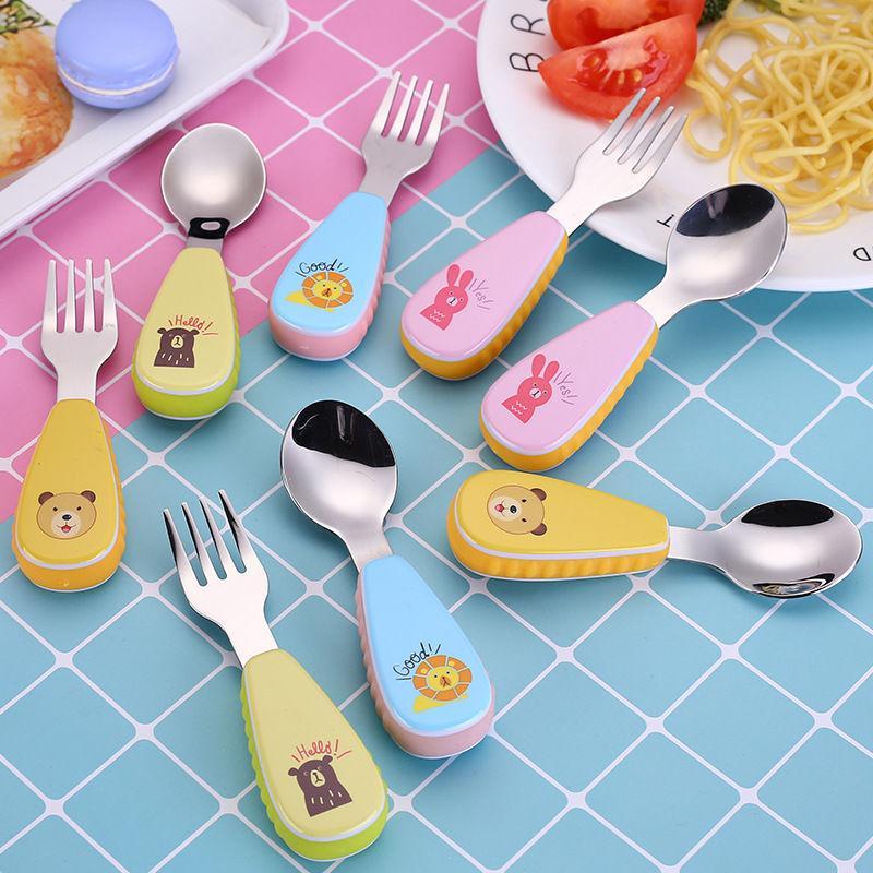儿童勺子学吃饭2岁婴儿餐具套装小孩304不锈钢训练幼儿宝宝叉子