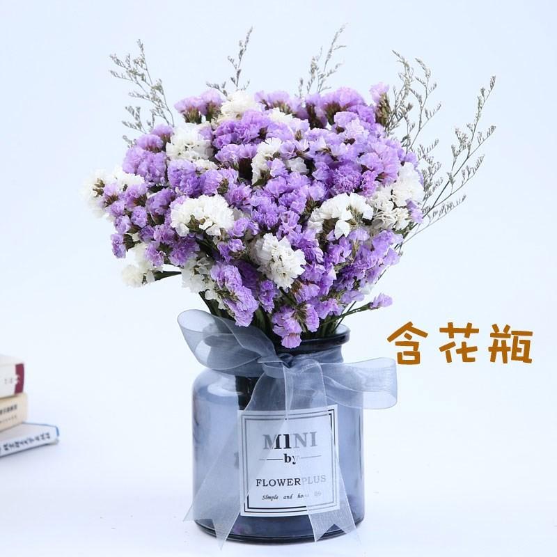 装饰满天星加勿忘我的干花花束室内花艺带花瓶装饰花礼物套装