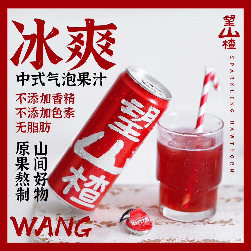 望山楂汁果汁山楂气泡水解腻网红饮料整箱果味汽水铝罐装330ml*6